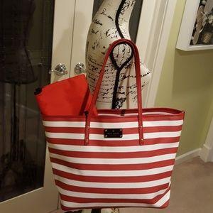 EUC red white stripe over shoulder kate spade bag